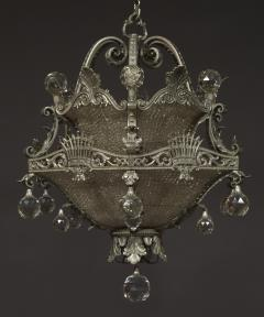 A Finely Cast And Silvered Bronze Faceted Glass Mounted Chandelier - 1200588