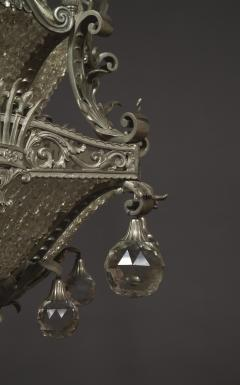 A Finely Cast And Silvered Bronze Faceted Glass Mounted Chandelier - 1200599
