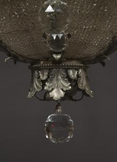 A Finely Cast And Silvered Bronze Faceted Glass Mounted Chandelier - 1200600