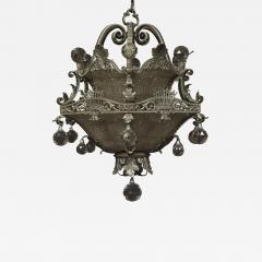 A Finely Cast And Silvered Bronze Faceted Glass Mounted Chandelier - 1201560