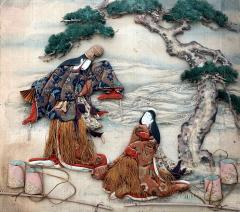 A Framed Antique Japanese Oshi E Textile Art from Meiji Period - 927200