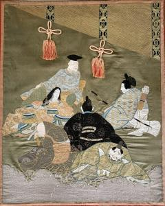 A Framed Japanese Embroidery Textile Art from Meiji Period - 925346