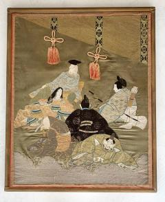 A Framed Japanese Embroidery Textile Art from Meiji Period - 925348