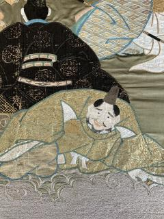 A Framed Japanese Embroidery Textile Art from Meiji Period - 925350