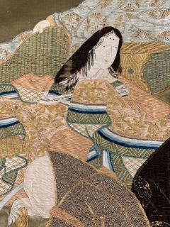 A Framed Japanese Embroidery Textile Art from Meiji Period - 925351