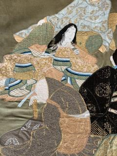 A Framed Japanese Embroidery Textile Art from Meiji Period - 925352