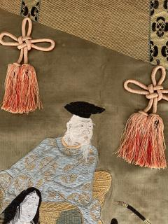 A Framed Japanese Embroidery Textile Art from Meiji Period - 925353