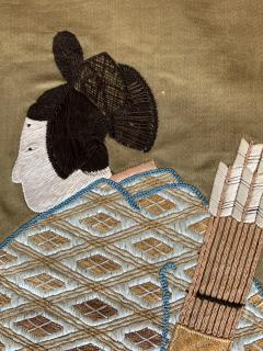 A Framed Japanese Embroidery Textile Art from Meiji Period - 925354