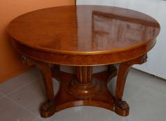 A French Empire Revival Burled Walnut and Walnut Extension Dining Table - 40604