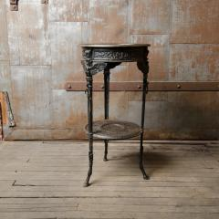A French antique two tier bronze garden bistro table - 2128955