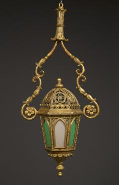 A Giltwood And Colored Glass Lantern in the Neo Gothic Taste - 949334