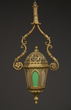 A Giltwood And Colored Glass Lantern in the Neo Gothic Taste - 949335