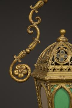 A Giltwood And Colored Glass Lantern in the Neo Gothic Taste - 949336
