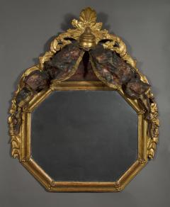 A Giltwood Octagonal Mirror With Floral Painted Canopy Crest - 1469058