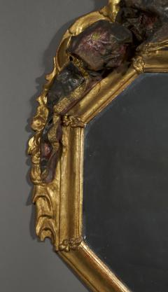 A Giltwood Octagonal Mirror With Floral Painted Canopy Crest - 1469070