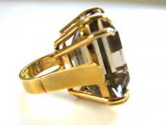 A Gold and Smokey Quartz Retro Ring c1945 - 43008