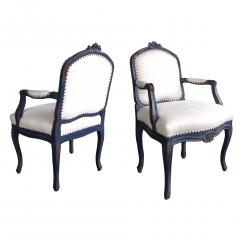A Graceful Pair of French Rococo Blue Gray Painted Armchairs - 199525
