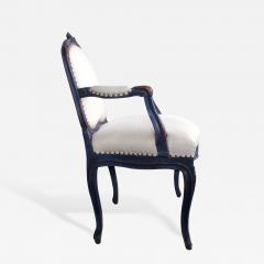 A Graceful Pair of French Rococo Blue Gray Painted Armchairs - 199706