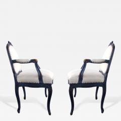 A Graceful Pair of French Rococo Blue Gray Painted Armchairs - 199710