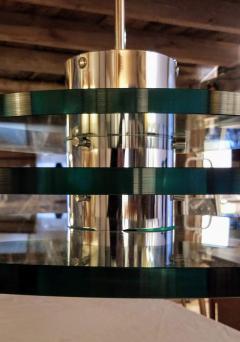 A H Feldman Minimalist Glass Disc Chandelier A H Feldman and Son Nickel Plated 1980s - 2067573