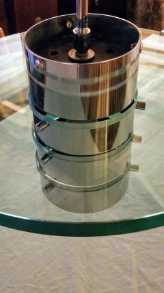 A H Feldman Minimalist Glass Disc Chandelier A H Feldman and Son Nickel Plated 1980s - 2067575