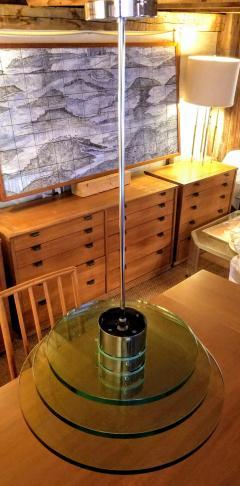 A H Feldman Minimalist Glass Disc Chandelier A H Feldman and Son Nickel Plated 1980s - 2067576
