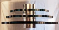 A H Feldman Minimalist Glass Disc Chandelier A H Feldman and Son Nickel Plated 1980s - 2067579