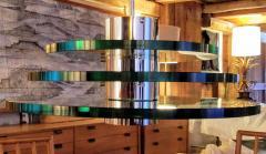 A H Feldman Minimalist Glass Disc Chandelier A H Feldman and Son Nickel Plated 1980s - 2067582