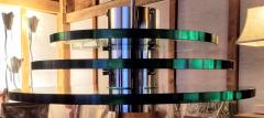 A H Feldman Minimalist Glass Disc Chandelier A H Feldman and Son Nickel Plated 1980s - 2067583