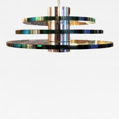 A H Feldman Minimalist Glass Disc Chandelier A H Feldman and Son Nickel Plated 1980s - 2069278