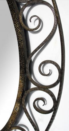 A Hand Crafted French Art Deco Iron Oval Mirror Style of Edgar Brandt - 107730