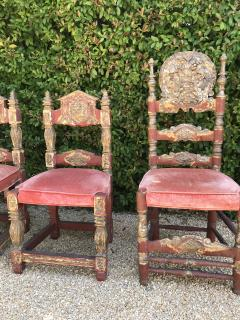 A Harlequin Set of 8 Spanish Colonial chairs - 1592840