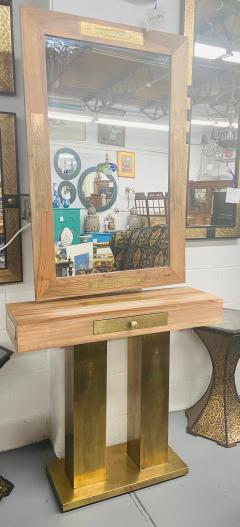 A Hollywood Regency Style Brass and Walnut Mirror and Console Table Set - 1581927