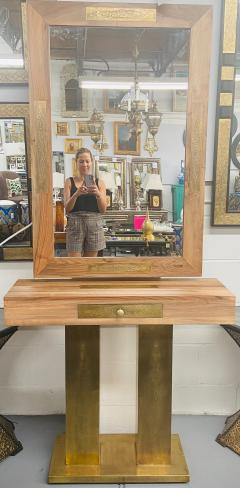 A Hollywood Regency Style Brass and Walnut Mirror and Console Table Set - 1581928