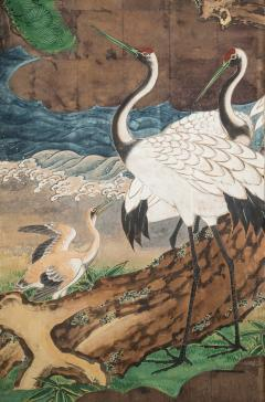 A Japanese 6 Panel Screen of Cranes Amidst Pine Trees by Water - 1064444