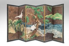 A Japanese 6 Panel Screen of Cranes Amidst Pine Trees by Water - 1064450