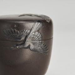 A Japanese Meiji period Iron box with bird decoration - 1345869