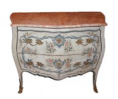 A Lacquered Wood Ligurian Commode with Rose Debrignoles Marble Top - 115489