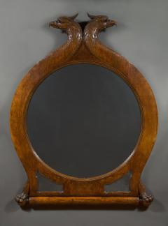 A Large Carved Oak Mirror Surmounted By Addorsed Eagle Heads - 1307676