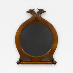 A Large Carved Oak Mirror Surmounted By Addorsed Eagle Heads - 1308767