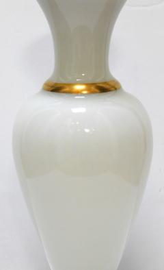 A Large French 1960s White Opaline Glass Lamp with Gilt Highlights - 1894371