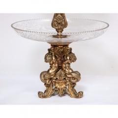 A Large French Silvered Bronze Cut Crystal Allegorical Three Tier Centerpiece - 1110944