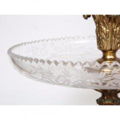 A Large French Silvered Bronze Cut Crystal Allegorical Three Tier Centerpiece - 1110949