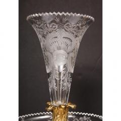 A Large French Silvered Bronze Cut Crystal Allegorical Three Tier Centerpiece - 1110951