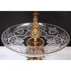 A Large French Silvered Bronze Cut Crystal Allegorical Three Tier Centerpiece - 1110952