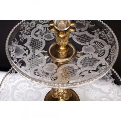 A Large French Silvered Bronze Cut Crystal Allegorical Three Tier Centerpiece - 1110953