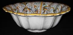 A Large Lobed Earthenware Bowl with Grotesque Decorations - 154737
