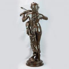 A Large Patinated Bronze Sculpture of a woman playing a violin La Musique  - 1468911