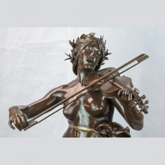 A Large Patinated Bronze Sculpture of a woman playing a violin La Musique  - 1468914