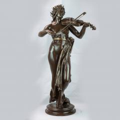 A Large Patinated Bronze Sculpture of a woman playing a violin La Musique  - 1468917